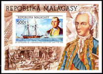 Malagasy 1975 American Revolution souvenir sheet unmounted mint.