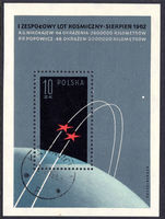 Poland 1962 First Team Manned Space Flight souvenir sheet fine used.
