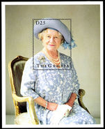 Gambia 1995 Queen Mothers 95th Birthday souvenir sheet unmounted mint.