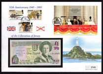 Jersey 1995 Liberation part set souvenir sheet and unc Liberation £1 banknote (Krause 25a) cover.