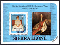 Sierra Leone 1982 Birth of Prince William souvenir sheet unmounted mint.