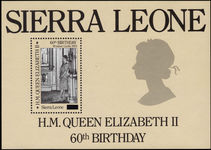 Sierra Leone 1986 60th Birthday surcharged souvenir sheet unmounted mint.