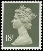 X912 18p deep olive-grey (2 bands) unmounted mint.