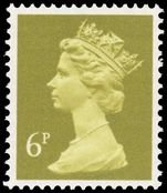 X936 6p yellow-olive Harrison phosphorised paper unmounted mint.