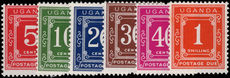 Uganda 1967-73 Postage due mixed perf set of values unmounted mint.