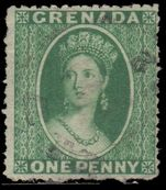 Grenada 1864 1d green wmk small star fine used.