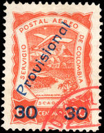 Colombia 1923 (30 Oct) 30c provisional fine used.