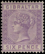 Gibraltar 1886-87 6d lilac lightly mounted mint.