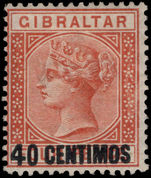 Gibraltar 1889 40c on 4d orange-brown lightly mounted mint.