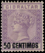 Gibraltar 1889 50c on 6d bright lilac lightly mounted mint.
