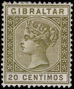 Gibraltar 1889-96 20c olive-green lightly mounted mint.