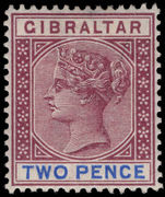 Gibraltar 1898 2d brown-purple and ultramarine lightly mounted mint.