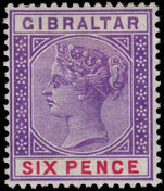 Gibraltar 1898 6d violet and red lightly mounted mint.