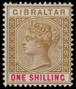 Gibraltar 1898 1s bistre and carmine lightly mounted mint.