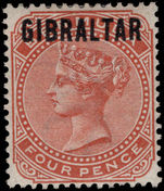 Gibraltar 1886 4d orange-brown lightly mounted mint.