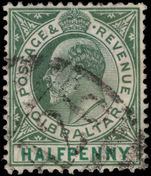 Gibraltar 1904-08 ½d green chalky paper Mult Crown CA fine used.