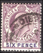 Gibraltar 1904-08 6d dull purple and violet ordinary paper Mult Crown CA fine used.