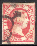 Spain 1851 5c thin paper fine used. (Tiny surface thin).