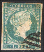 Spain 1856 1r greenish blue watermark fine used.