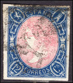 Spain 1865 12c rose and deep-blue imperf fine used.