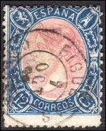 Spain 1865 12c rose and deep-blue perf 14 fine used.
