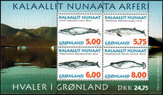 Greenland 1997 Whales souvenir sheet unmounted mint.