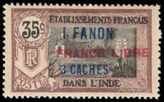 French Indian Settlements 1941 1fa3ca on 35c France Libre fine lightly mounted mint.