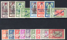 French Indian Settlements 1942-43 pictorial set France Libre fine lightly mounted mint.