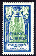 French Indian Settlements 1942-43 20ca with blue France Libre fine lightly mounted mint.