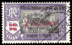 French Indian Settlements 1943 4ca on 6fa6ca fine used.
