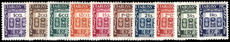 French Indian Settlements 1948 Postage Due set lightly mounted mint. (5fa damaged).