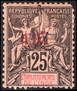 French Indian settlements 1903 0,05 on 25c black on rose mint hinged (pulled corner perf).