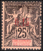French Indian settlements 1903 0,15 on 25c black on rose mint hinged (pulled perf).