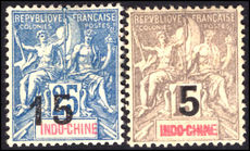 Indo-China 1903 provisionals mint hinged (15c no gum).