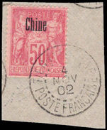 French PO's in China 1894-1903 50c carmine N under B fine used on piece.