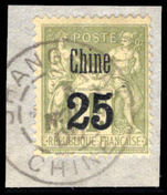 French PO's in China 1900 25c Shanghai provisional fine used on piece.