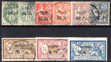 French PO's in China 1907 set fine used (2pi unused).