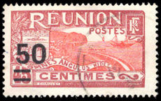 Reunion 1933 50c red and claret provisional fine used.