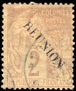 Reunion 1891 2c brown on buff no accent fine used.