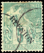 Reunion 1891 5c green on pale green no accent fine used.