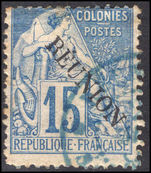 Reunion 1891 15c blue on pale-blue with accent fine used.