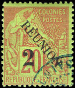 Reunion 1891 (Dec) 2c on 20c red/green fine used.