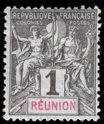 Reunion 1892 1c black on azure lightly mounted mint.