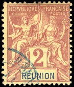 Reunion 1892 2c brown on buff fine used.
