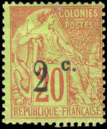 Reunion 1894 2c on 20c red/green mounted mint.