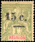 Reunion 1901 15c on 1f smaller figure mounted mint.
