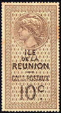 Reunion 1907-23 10c brown and black parcel post mounted mint.