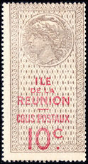 Reunion 1907-23 10c brown and red parcel post mounted mint.