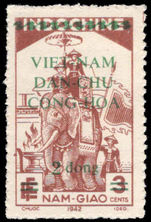 Vietnam 1945-46 2d on 3c brown lightly mounted mint.