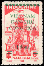 Vietnam 1945-46 4d on 6c carmine lightly mounted mint.